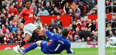Nani scores against Aston Villa