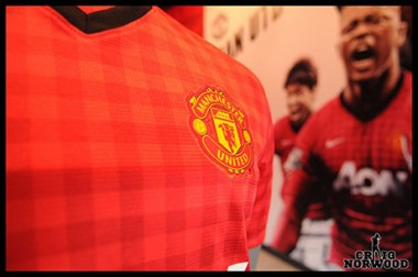 The 2012/2013 Manchester United home kit in the megastore (@craignorwood)