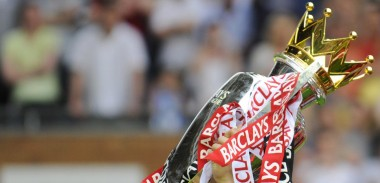 Barclays Premier League Trophy with red and white ribbons