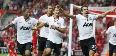 Robin Van Persie celebrates against Southampton