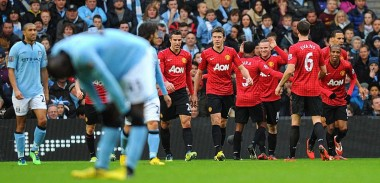 United players celebrate against City