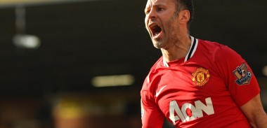 Ryan Giggs celebrates his goal against Norwich