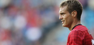 Nemanja Vidic in action with Manchester United